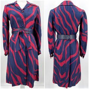 Vintage 70s Shannon Rodgers Red Blue Belted Dress